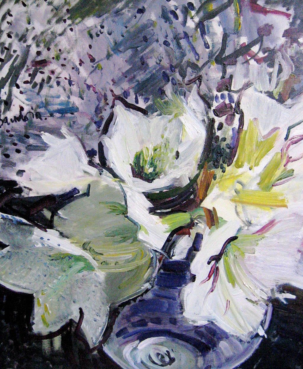 Amaryllis blancs - Huile sur toile