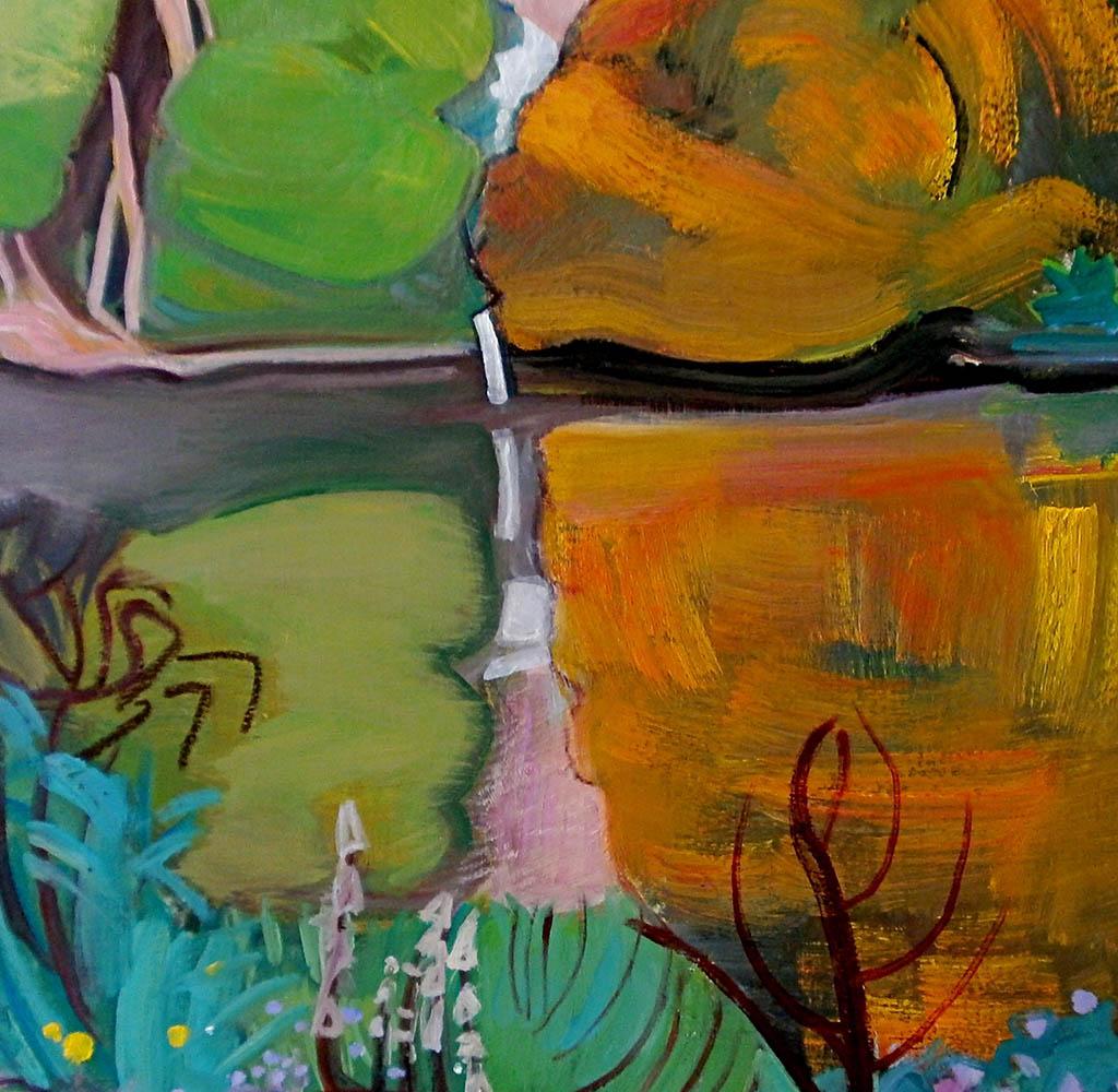Automne à Samois - Huile sur toile 60x60