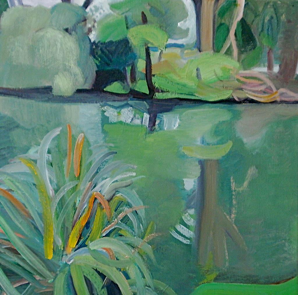 Bords de Seine à Samois - Huile sur toile 60x60