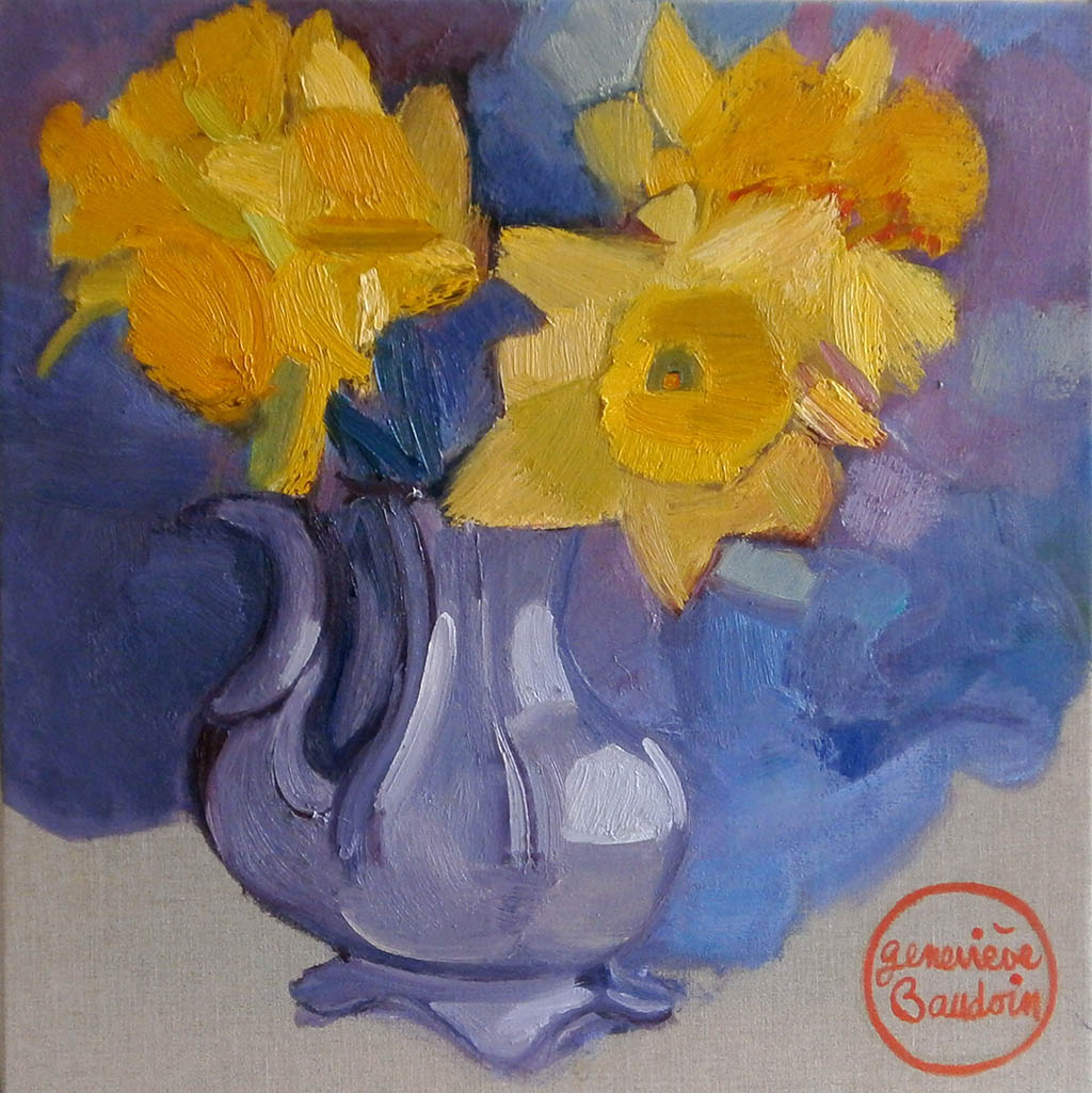 Bouquet de jonquilles - Huile sur toile 60X60