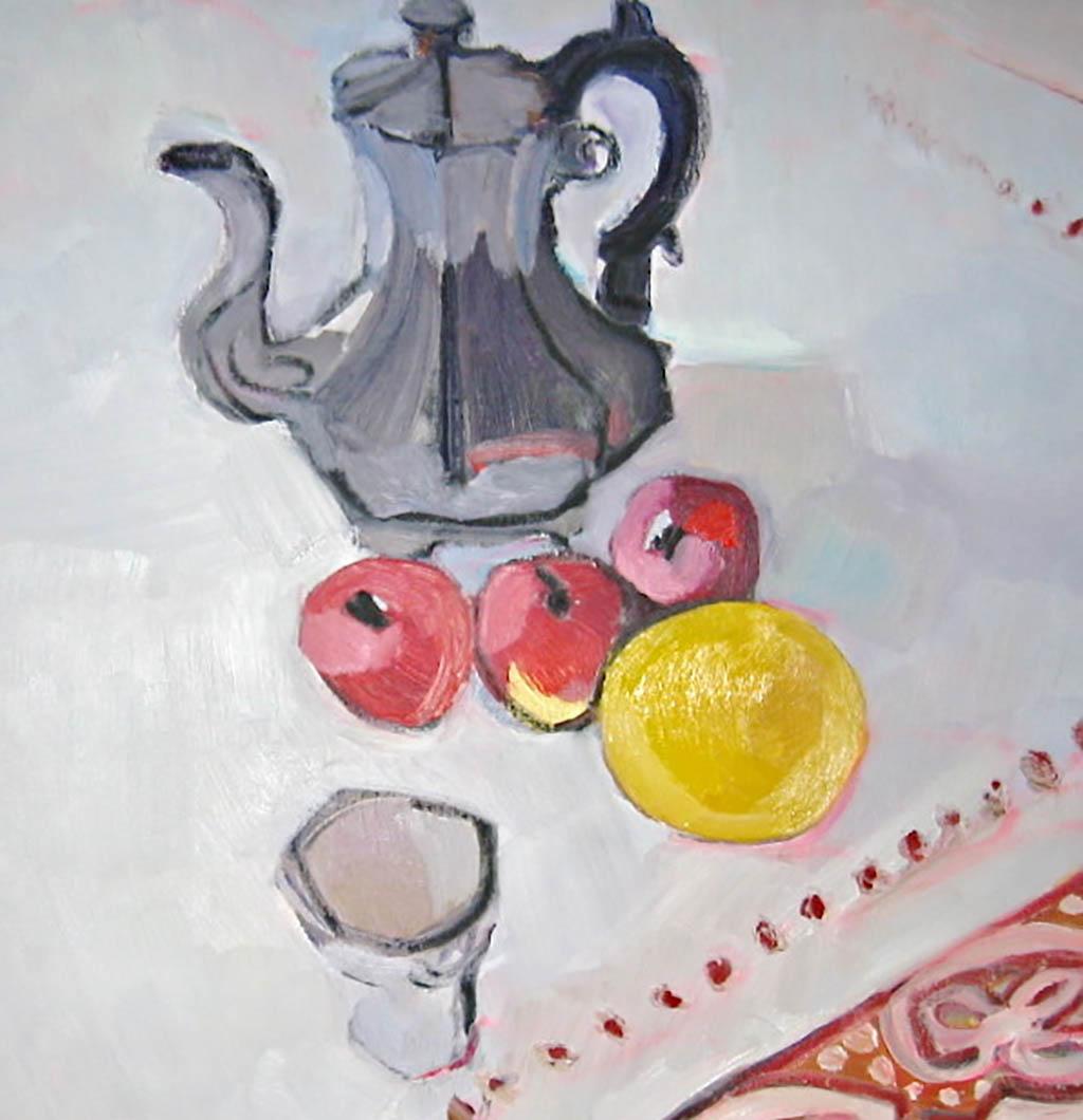 Chocolatiere et 3 pommes - Huile sur toile 60X60