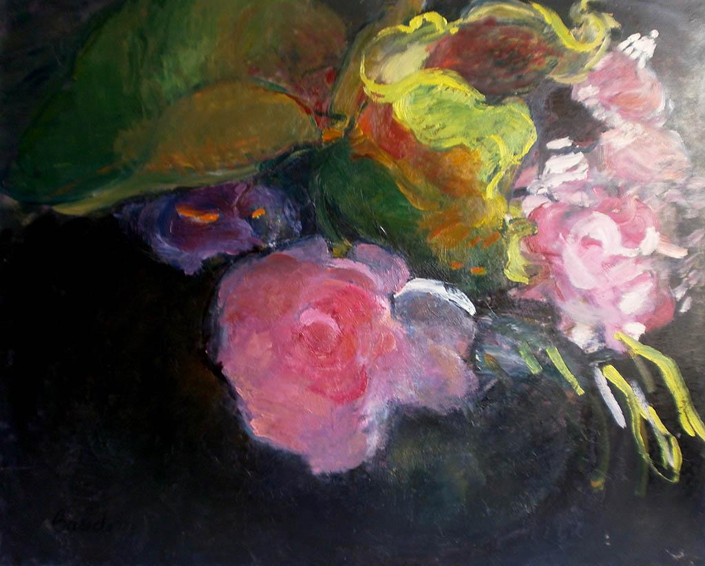 Dans le vase rond - Huile sur toile 81x65