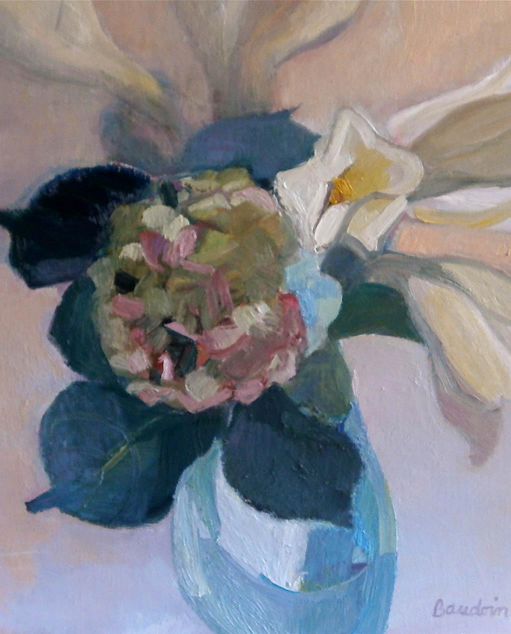 Hortensias dans le vase bleu - Huile sur toile 73X60
