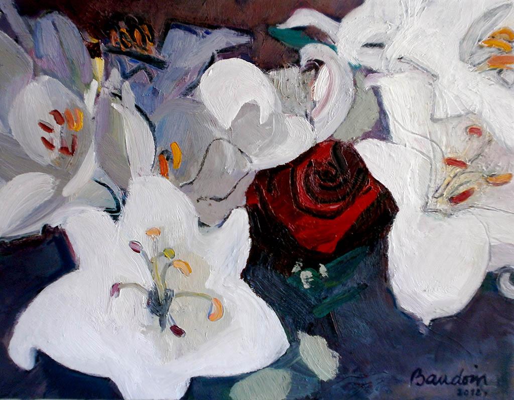 La rose entre les lys - Huile sur toile-50X61