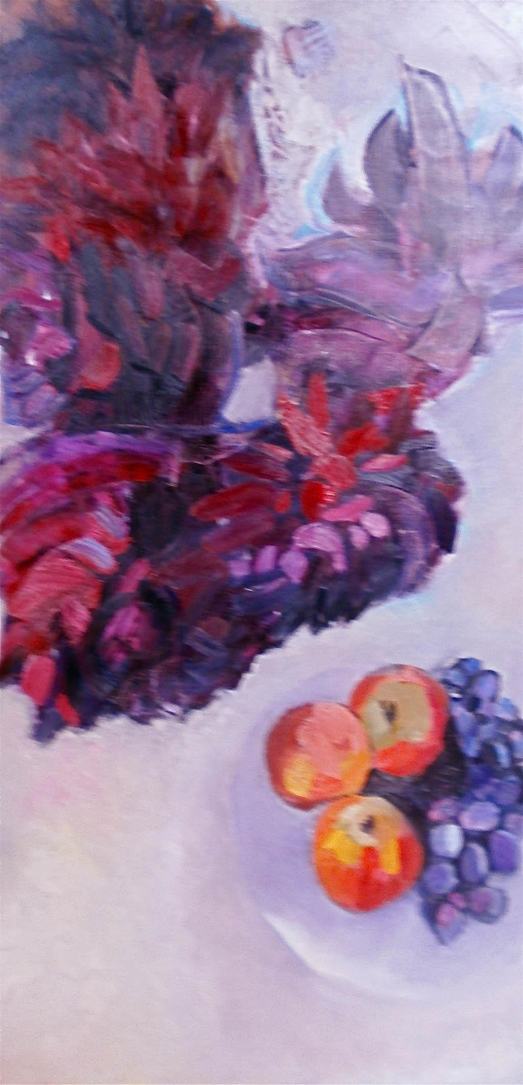 Les dahlias rouges en suspens - Huile sur toile 60X120