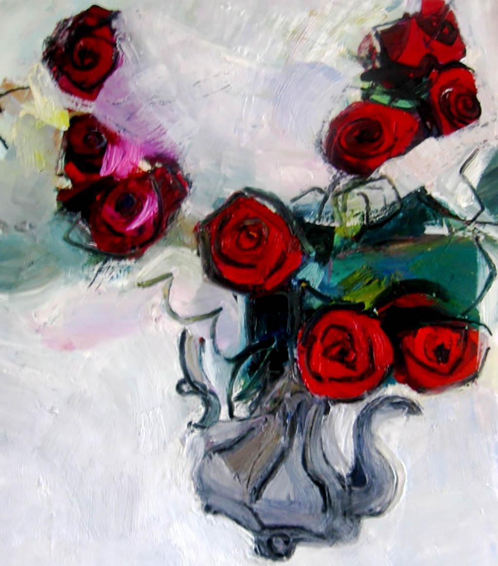 Les roses rouges dans la chocolatiere - huile sur toile