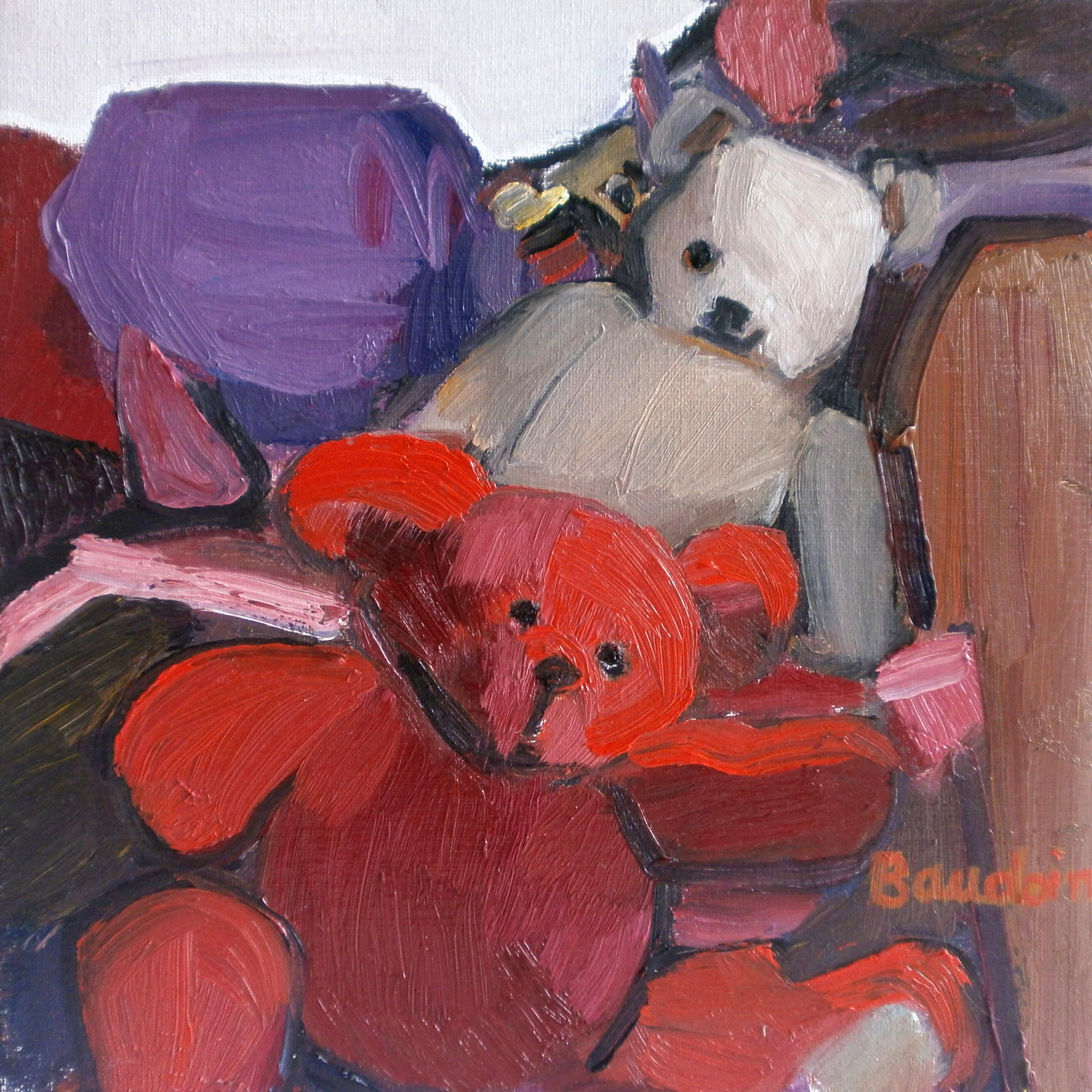 Petit bazar aux oursons - Huile sur toile 30x30