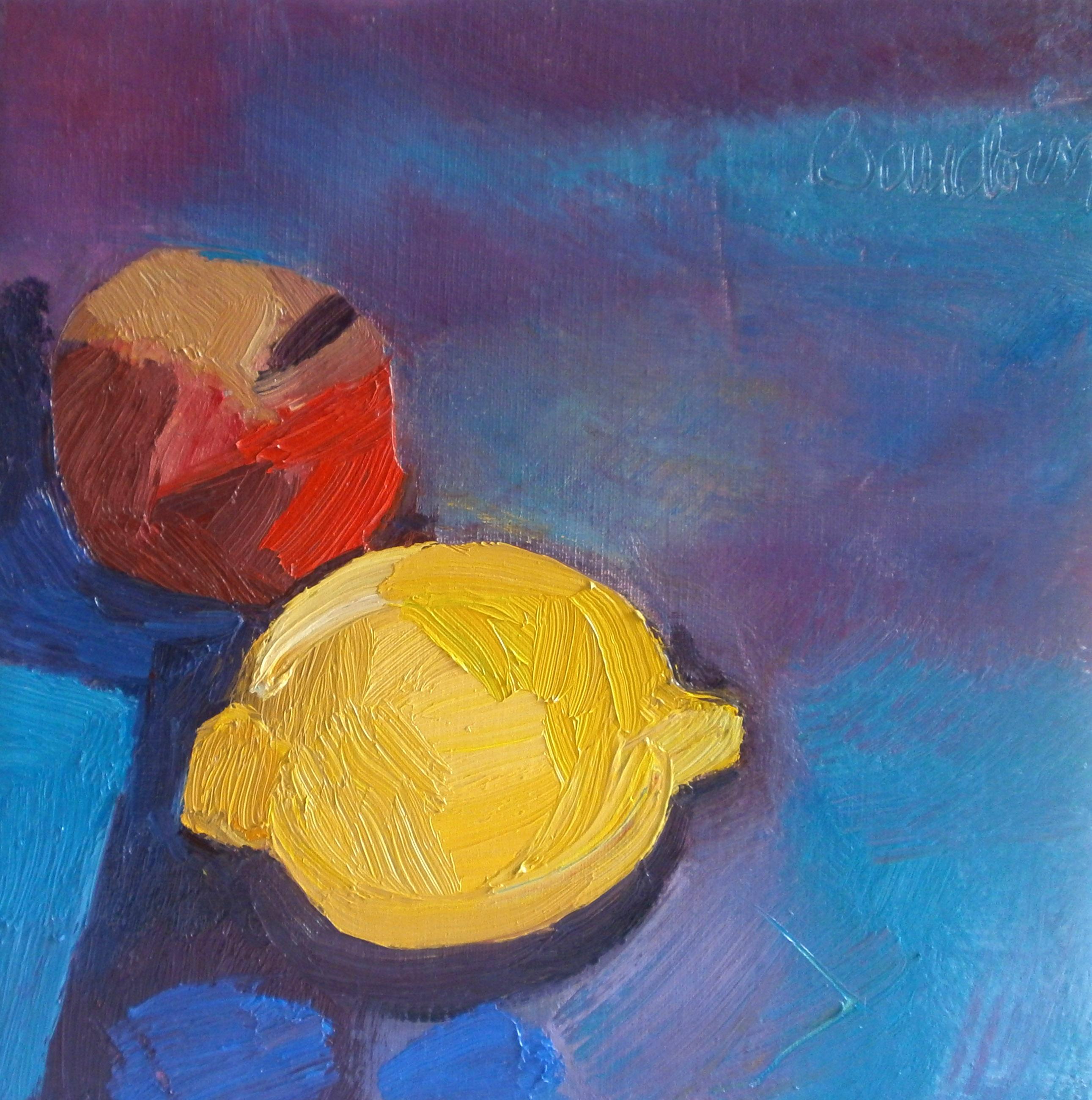 Un citron une pomme - Huile sur toile 30x30