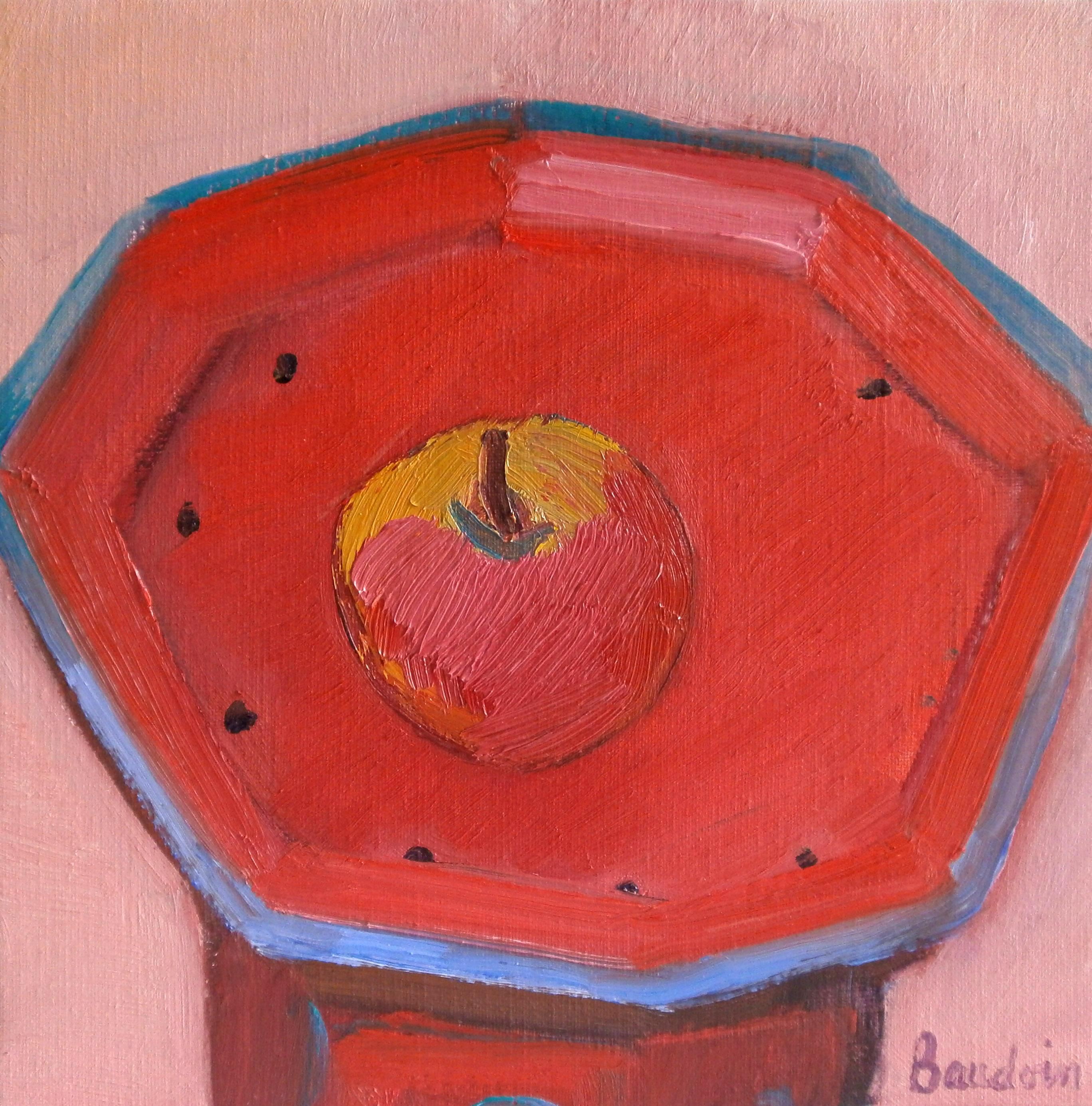 Une pomme sur la petite table rouge Huile sur toile 30x30