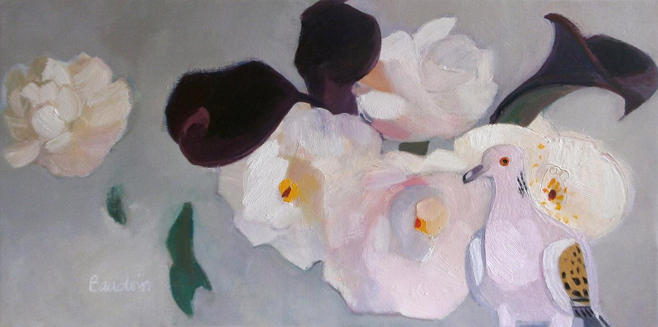 Dans les pivoines roses - Huile sur toile 120x60