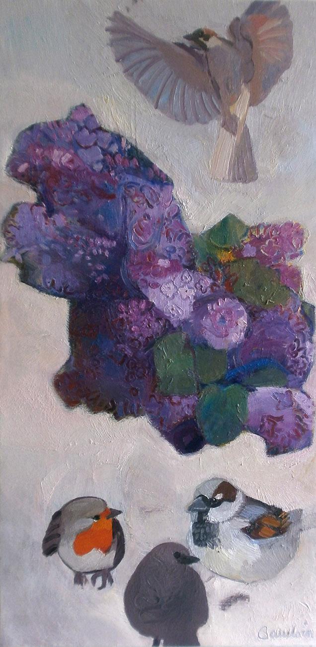 Dessus-dessous les lilas - Huile sur toile 120x60