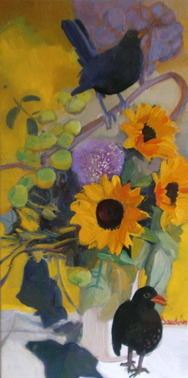 Le grand bouquet habité - Huile sur toile 120x60