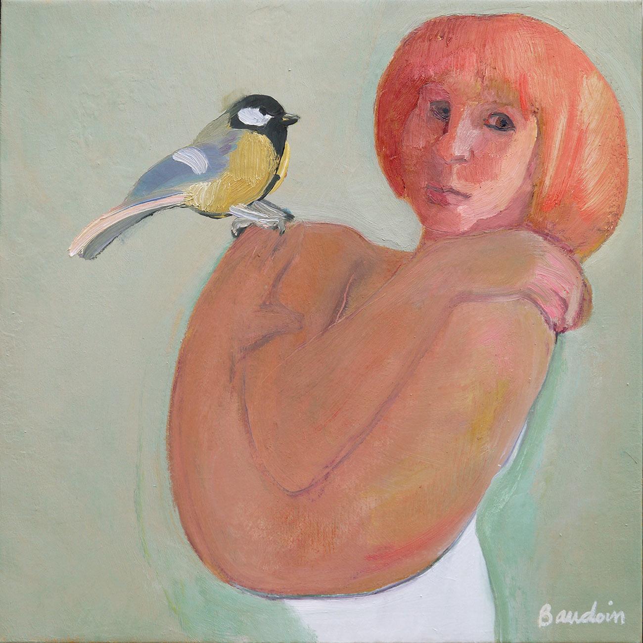 ''là'' Comme un oiseau palpitant - Huile sur toile 60x60