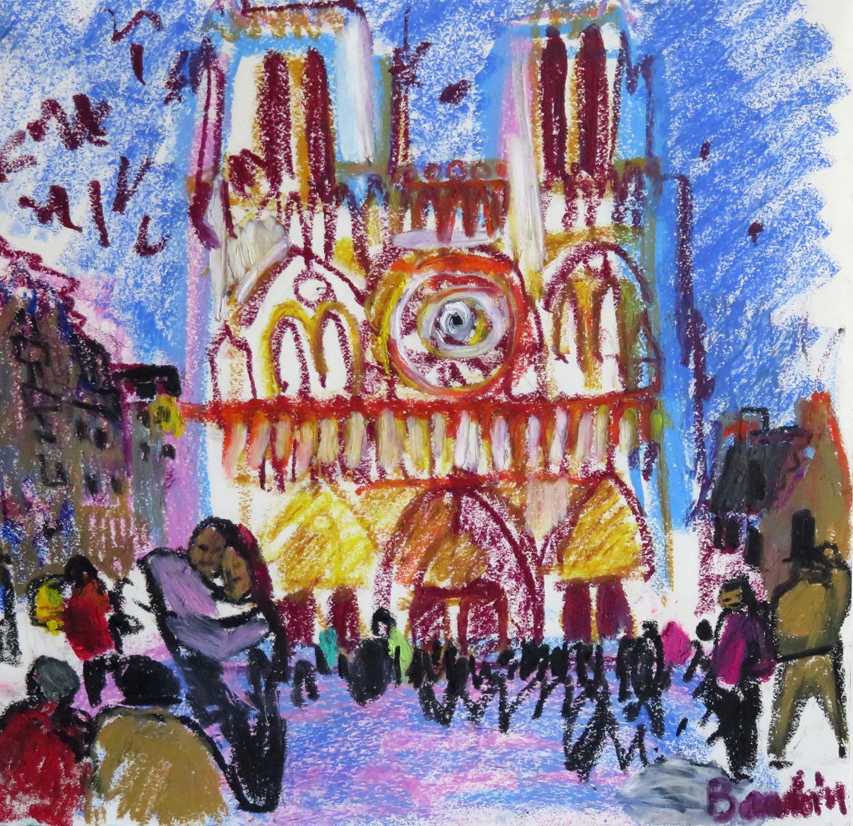 Notre Dame - Pastel gras 28x30