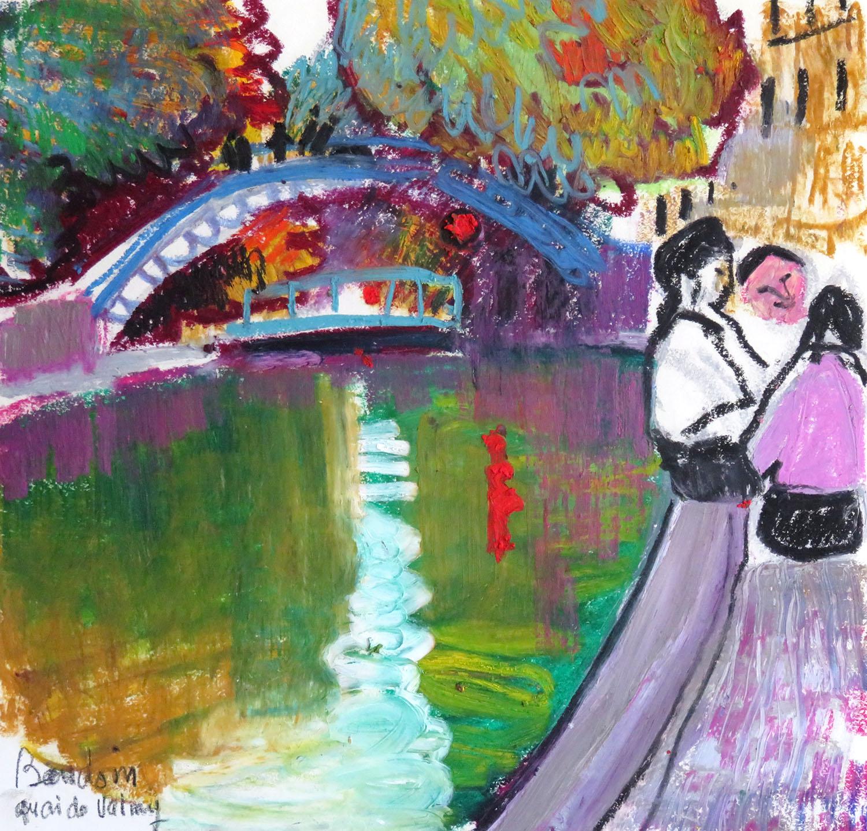 Quai de Valmy - Pastel gras 28x30