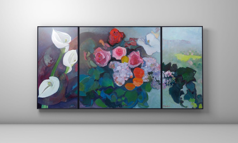 Triptyque - Vol au dessus de Cebntral Park - Huile sur toile : 122x251