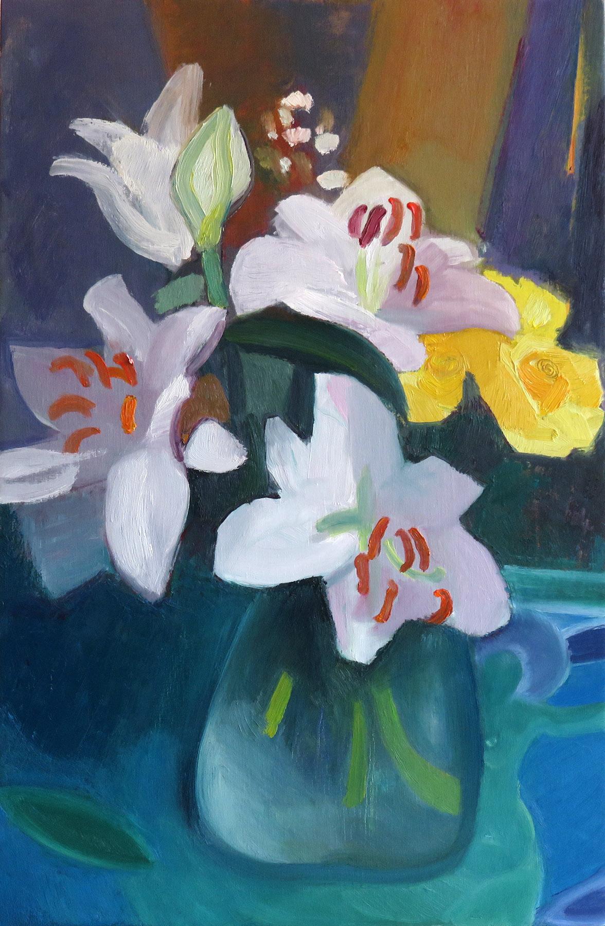 Grand bouquet de Lys - huile 92:60 cm