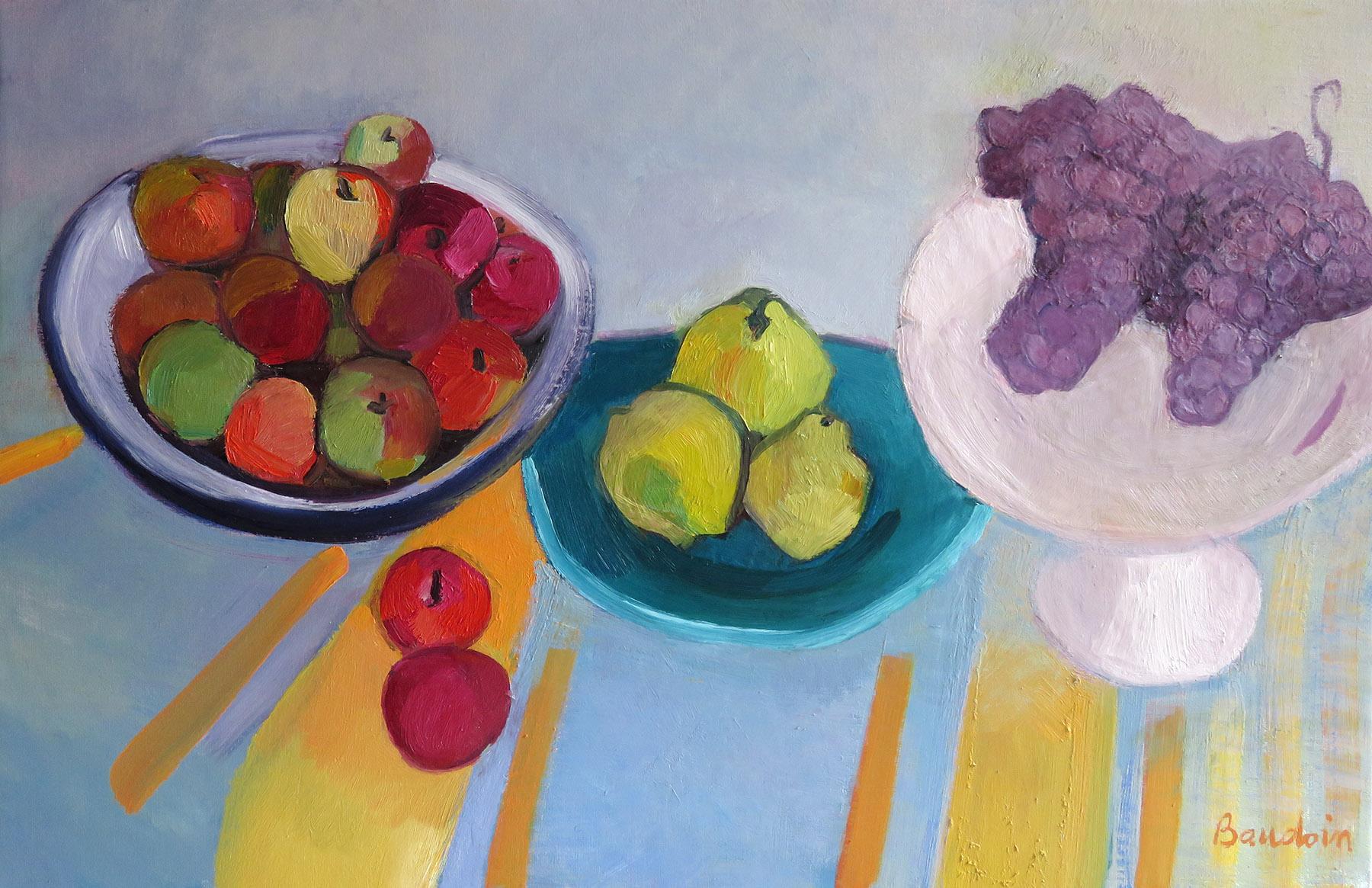 Sur la nappe rayée avec fruits d'automne - huile 100:64,5