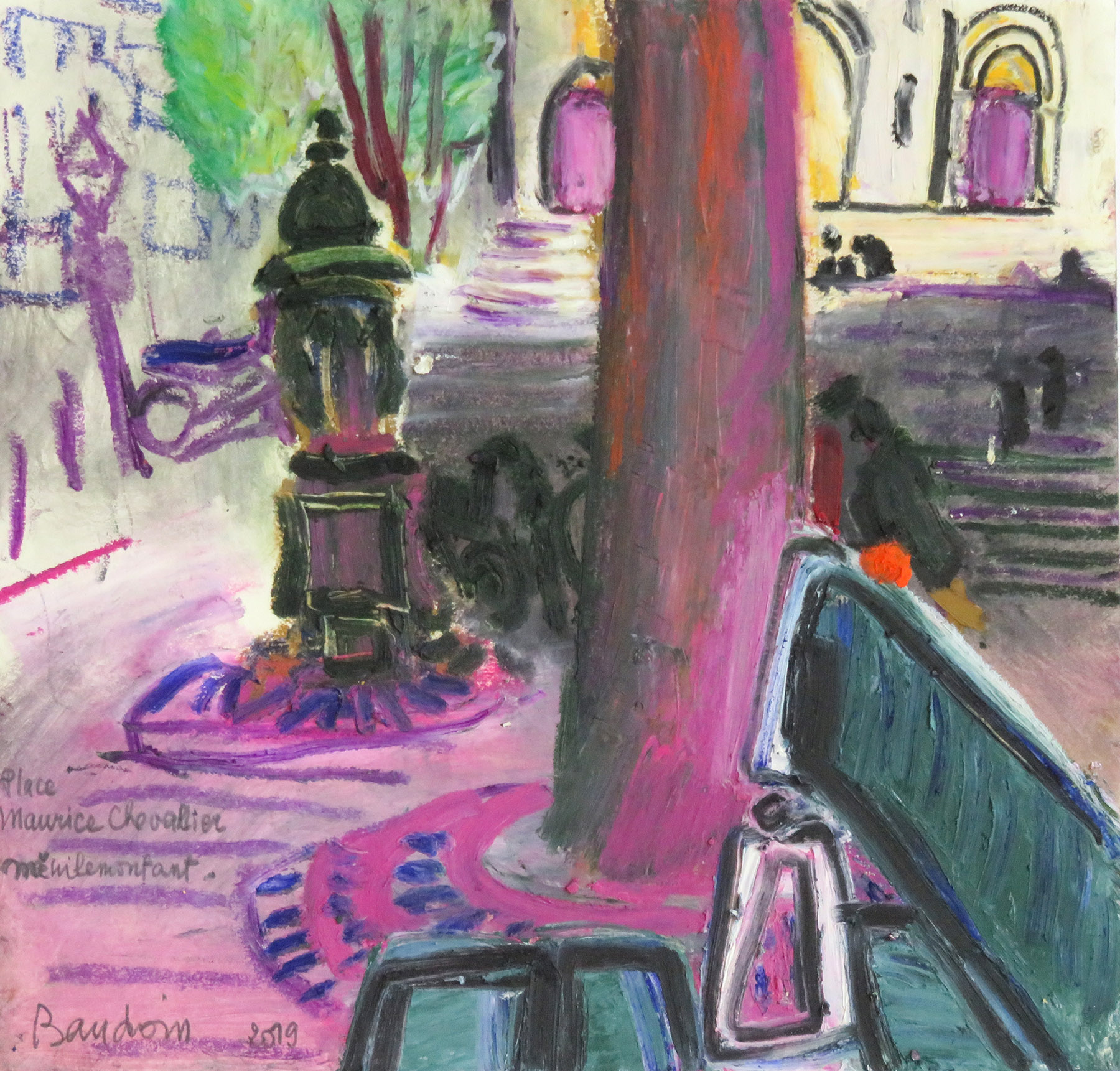 pastel gras place maurice chevalier 30 x 28,5