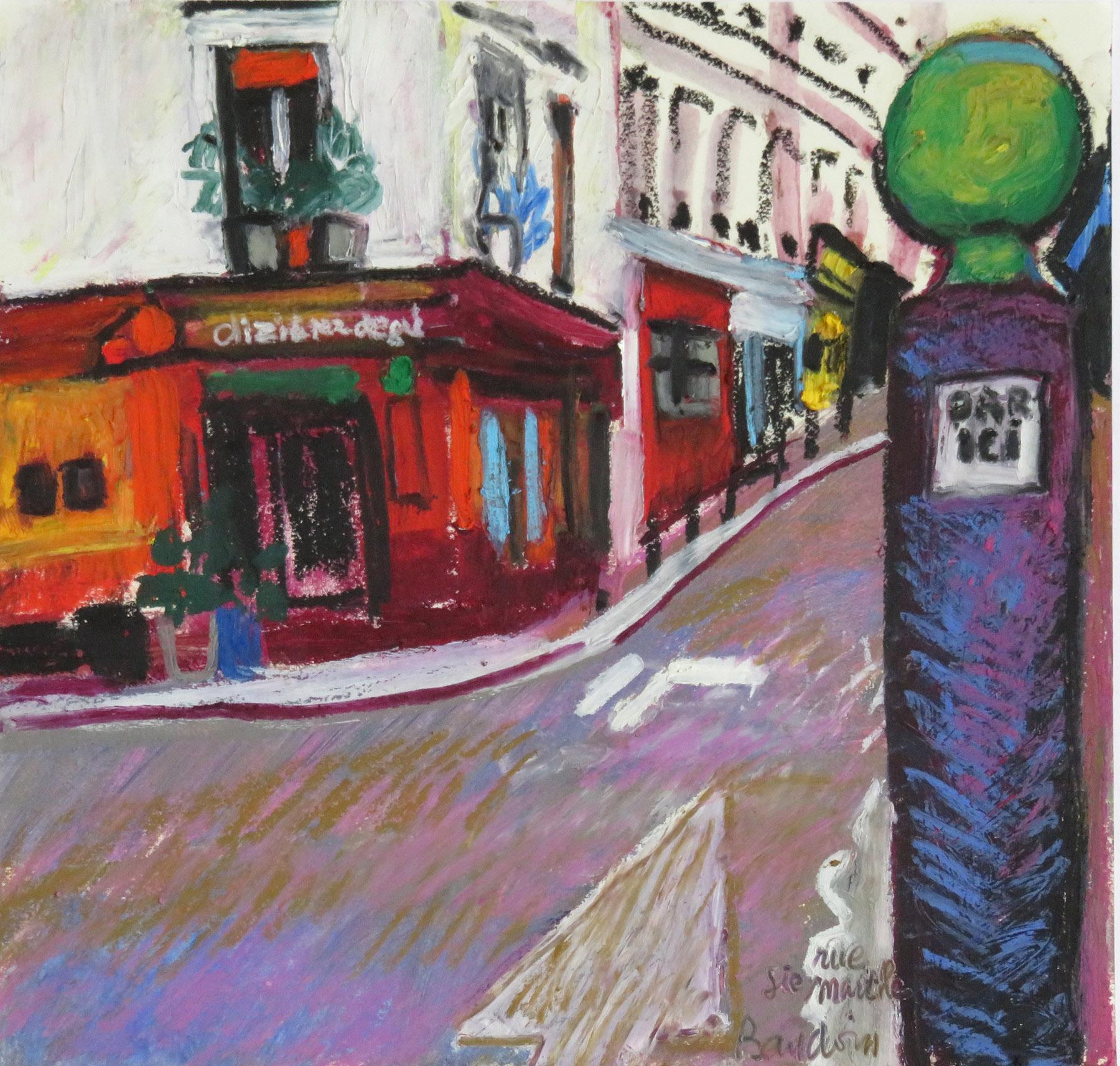 pastel gras rue Sainte Marthe 30 x 28,5