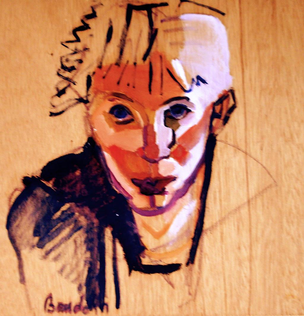 Geneviève Baudoin - autoportrait_portrait_huile_bois_35X35