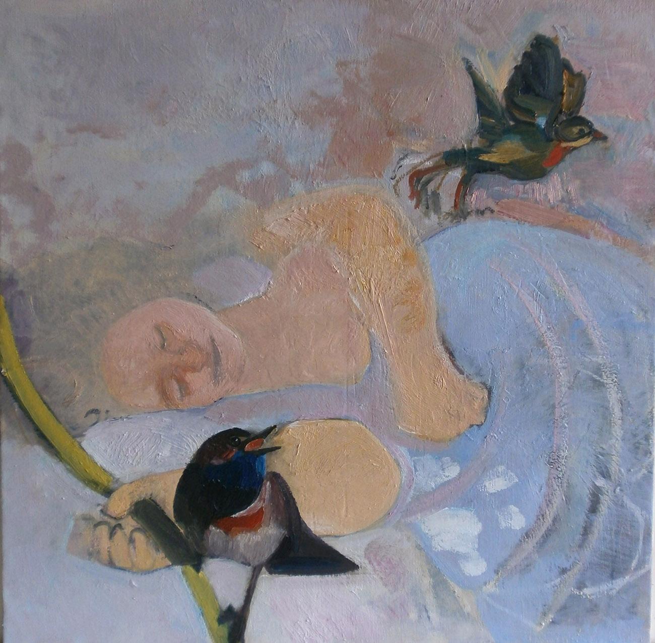 Jeune fille endormie - Huile sur toile 80x80